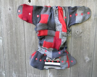 Upcycled Wool Nappy Cover Diaper Wrap Cloth Diaper Cover One Size Fits Most Gray/ Red Patchwork Scrappy/ Blue