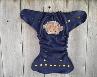 Upcycled Merino Wool Nappy Cover Diaper Wrap Cloth Diaper Cover One Size Fits Most Navy Blue With A Monkey Applique/ Blue