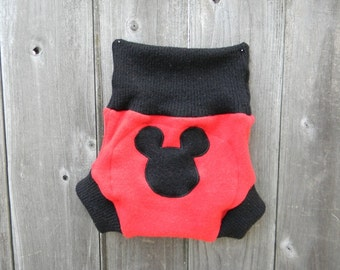 Upcycled Wool Soaker Cover Diaper Cover With Added Doubler Red/ Black With Mickey Mouse  Applique LARGE 12-24M Kidsgogreen