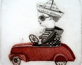 Etching / limited edition original etching (printmaking / graphic art) / original print / original art / car etching - 'Boy and his car'