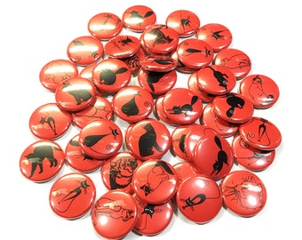 "Cats, Red and Black, 1"", 1.5"", Button, Cat Decor, Cat Pin, Cat Flatback, Cat Pinback, Cat Badge, Cat Party Favor, Black Cat, Red Cat, Kitten"