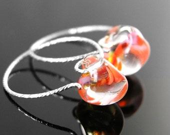Dainty Pink Orange Red Drop Earrings Sterling Silver Hoop Earrings Handmade Lampwork Earrings Small Teardrop Earrings Hoops Glass Jewelry