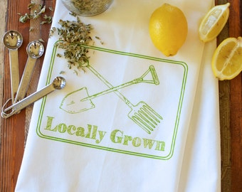 Tea Towel - Kitchen Towels - Screen Printed Flour Sack Towel - Tea Towel Set - Tea Towel Flour Sack - Dish Towels - Locally Grown - Towel