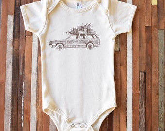 Screen Printed Onesie - Organic Baby One Piece - Organic Baby Onesie - Organic Baby Clothing - Infant One Piece - Christmas Station Wagon
