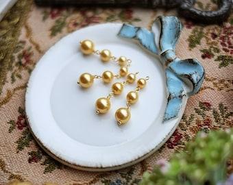 1 pcs of Three gold pearl beads beads pendant