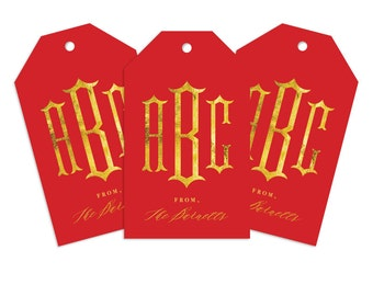 Custom Monogram Gift Tag, Pagoda Chino Personalized Gift Tag for Gifts, Holidays, Weddings and More