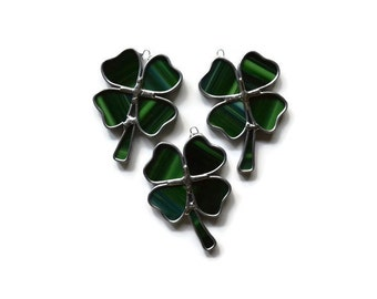 Stained Glass Four-Leaf Clover - Set of 3 in Green Suncatchers Shamrock