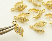 PS-075-GD / 2 Pcs - Flame Wave Pinch Bail with CZ Stone Detail, 16K Gold Plated over Brass / 11mm