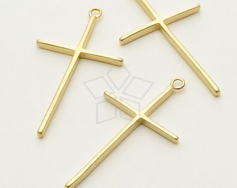 PD-697-MG / 2 Pcs - Skinny Cross Pendant, Matte Gold Plated over Brass / 16mm x 29mm