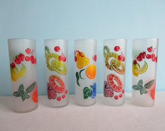 Vintage Federal Frosted Collins Glasses - Fruit Motif - Barware - Tall
