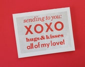 Letterpress Typographic Valentine's Day Card - XOXO Hugs and Kisses Mother Daughter Son Family