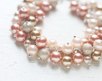 Peach and Gold Bridesmaids Jewelry, Pearl Cluster Bracelet - Romantic Pastel Colors