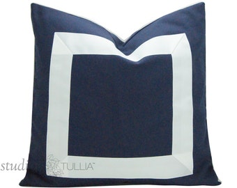 Navy Blue and White Ribbon Pillow Cover Choose a Size Between 17 and 26 inches - made to order