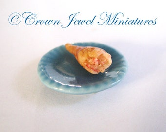 1:12 Baked Turkey Leg on Blue Lunch Plate I by IGMA Artisan Robin Brady-Boxwell - Crown Jewel Miniatures