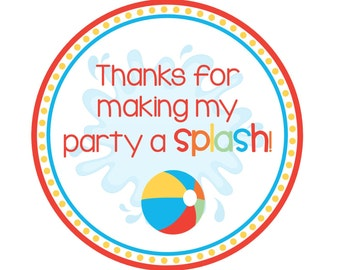 INSTANT DOWNLOAD - Beach Ball Party Themed Birthday Party Favor Tags