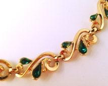 Signed Trifari © Green Rhinestone Necklace - Pear Shaped Emerald Color Rhinestone Trifari Necklace, Gold Tone Links, Vintage Trifari Jewelry