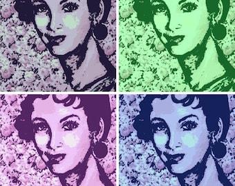 "Portrait Pop Art Print, Pretty Woman, Graphic Art Portrait, Print of my original artwork, 12"" x 12"", handsigned, artist Patty Fleckenstein"