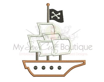 Pirate Ship Applique Design - 6 Sizes - Instant Download
