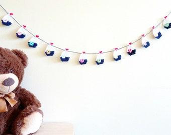 Nautical banner - crochet sailboat garland - nautical baby shower decoration - nautical theme birthday party decor - boy room decor ~31.5 in