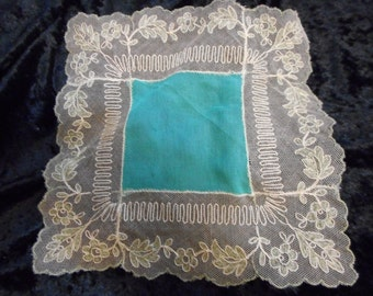 x Silk and Lace vintage Hanky turquoise aned ivory with green flowers and tipped scalloped edge -Bridal (FF052016-02)