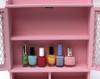 Pink nail polish armoire - Upcycled Storage for your Beauty items!