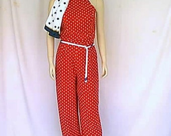 Reimagined 1930s Yacht Club Glam Red and White Polka-Dot Vintage Clothing Complete Costume