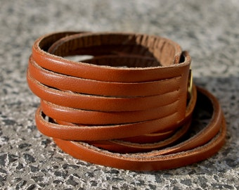 Leather Wrap  Cuff Bracelet , Caramel Brown Genuine Leather ,Multi-Strand Leather Bangle