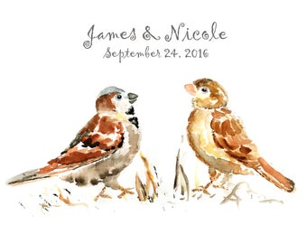 Bird Print, Personalized Wedding Gift, Watercolor Bird Painting, custom anniversary gift, custom gift for couple, Bird Art, Watercolor Art