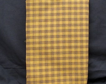 Homespun Fabric- Mustard with Black Lines