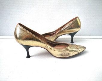 1950s Metallic Gold Leather Stiletto Pumps Shoes Size 6 Ponticelli Wilbar's Boston