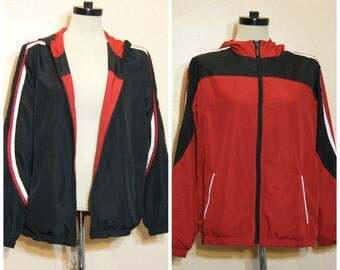 Red and Black REVERSIBLE Track Jacket Medium Large Athletic Boyfriend Sporty Normcore Hipster