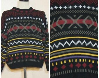 Black Tribal Print Southwestern Sweater Medium Large Chunky Knit Oversized Boyfriend Sweater