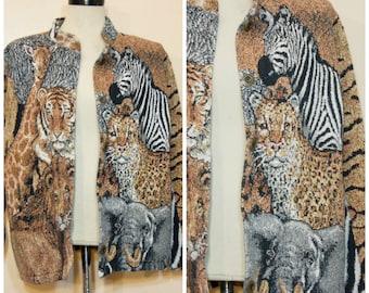 90s Animal Jacket OSFM Tigers Leopard Zebra Giraffe African Safari
