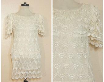Off White Lace Dress Medium Mini Dress Lace Tiers Wedding Dress 80s 90s
