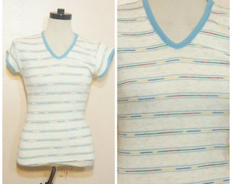 70s Stripe Sweater Tee Small Medium Marble Knit Primary Colors