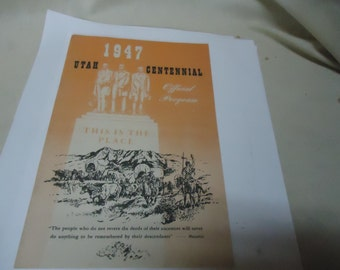 Vintage 1947 Utah Centennial Official Program or Booklet, This Is The Place, collectable
