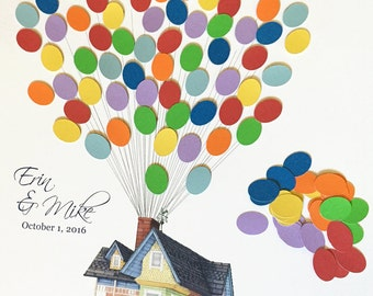 Movie Up inspired Wedding Guestbook alternative, guest book poster, flying house with balloons, Disney Wedding, Wood Guest Book Print