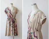 Vintage 1970s Dress Floral Dress Beige Midi Day Dress Boho Dress 70s dress Large