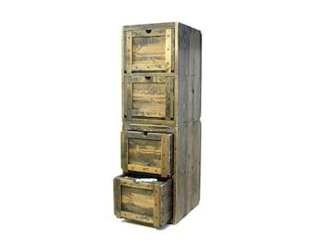 Modular File Cabinet, Solid Wood Filing Cabinet, File Organizer Modular, Rustic Storage & Organization