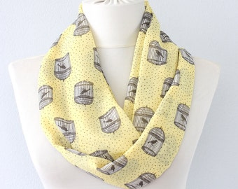 Birdcage scarf yellow infinity scarf bird scarf tropical summer scarf animal printed scarf lightweight scarves for women whimsical gift