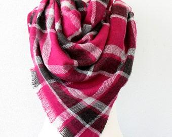 Raspberry blanket scarf plaid blanket scarf chunky scarf dark pink scarf christmas gift idea for her soft scarf winter scarf vegan scar