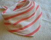 Coral and Cream Striped Baby Bib Bandana