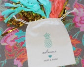 WELCOME Glitter Heart Destination Wedding Favor Bags - Personalized Favor Bags - Set of 10 - Pineapple