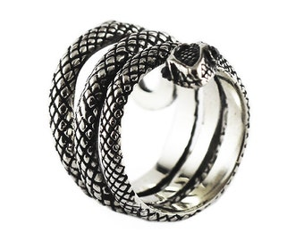 Silver Sanke Ring Black Diamond Eyes Unisex Mens and Womens Personalize Rings