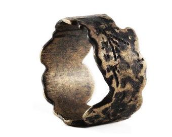 Mens Bronze Ring Scratched Antique Cool Rustic Rings for Guys