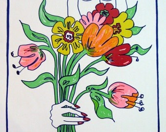 "Edwina Sandys ""Flowers Bouquet"" 1970 - Signed - Serigraph - 499/500 As in the Tate Gallery"