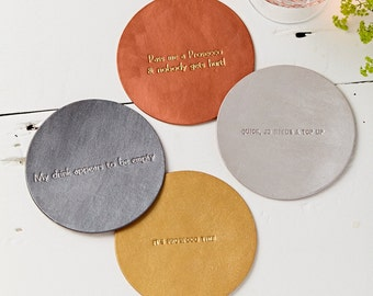 Personalised Metallic Hand painted leather coaster