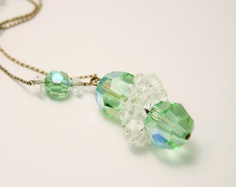 Vintage green glass bead necklace.