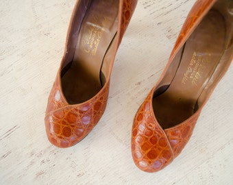 Vintage 1950s Alligator Heels - 50s Pumps - Corsini Reptile Shoes