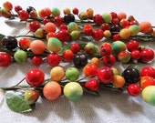 Spun Cotton Wired Fruit Branches for Della Robbia  / Vintage / Made in Korea / Great Condition